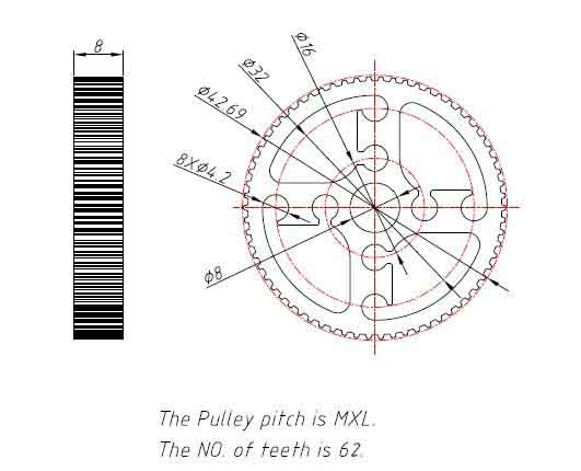 purchase makeblock timing pulley 62t